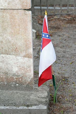Modern display of the Confederate flag - Confederate flag at the grave of a Confederate soldier on St. Simons, Georgia