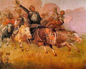José Gervasio Artigas - La Mañana de Asencio, portrait by Carlos María Herrera about the cry of Asencio.