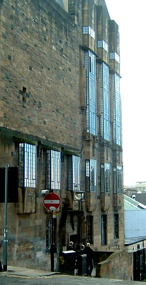 Glasgow School of Art - Western facade of GSA's Mackintosh building