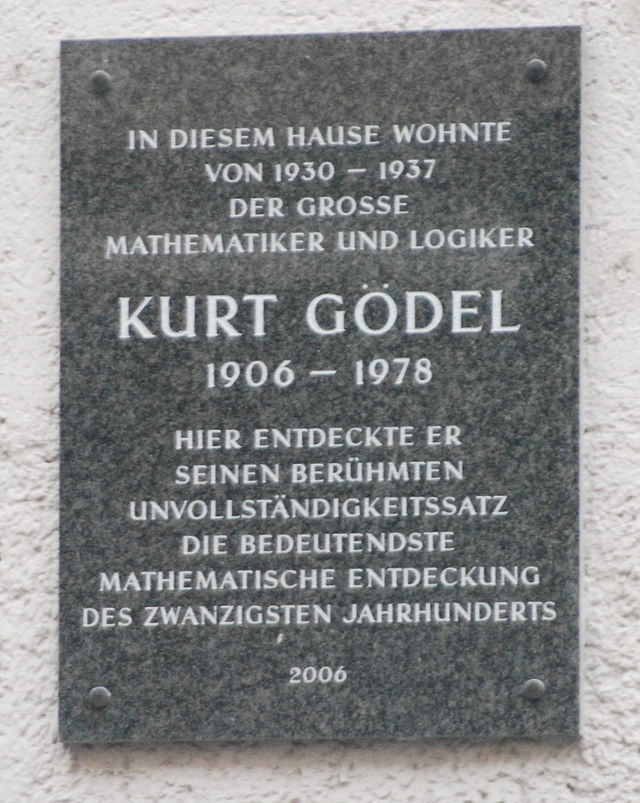 Photo of Kurt Gödel plaque