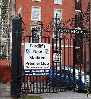 Cardiff RFC - Image: Gwyn Nicholls Memorial Gates 02