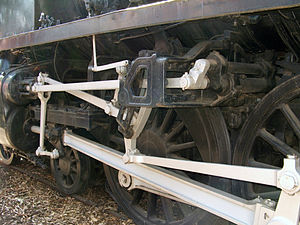 Valve gear - View of Henschel & Son conjugated valve gear mechanism used on Victorian Railways H class locomotive, driven from the outside Walschaerts valve gear