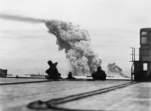 Operation Orator - 13 September 1942. The US Navy cargo ship SS Mary Luckenbach, carrying 1,000 tons of TNT, explodes violently during convoy PQ 18, eight days away from Arkhangelsk.  The ship was attacked by several German aircraft and hit by an aerial torpedo.