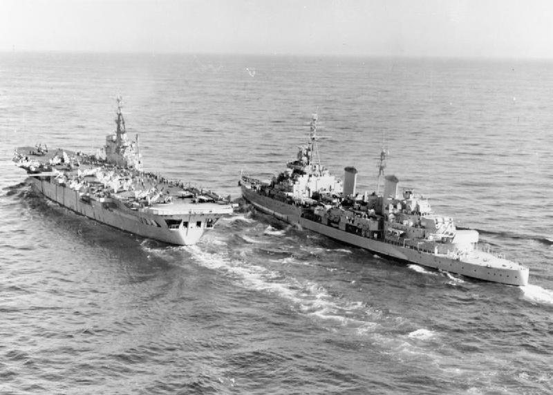 HMS Belfast (C35) and HMS Ocean (R68) off Korea 1952