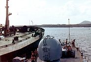 HMS Cardiff alongside tanker Ascension Islands 1982