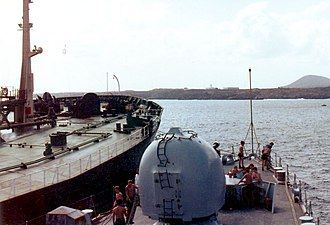 4.5 inch Mark 8 naval gun - Image: HMS Cardiff alongside tanker Ascension Islands 1982