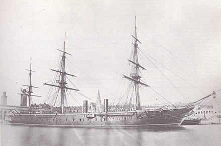 HMS Warrior during her third commission between 1867 and 1871 HMS Warrior (1860).jpg