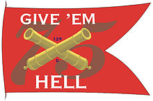 "Battle flag with red background with the number 75, crossed canon barrels and phrase ""Give 'em Hell"""