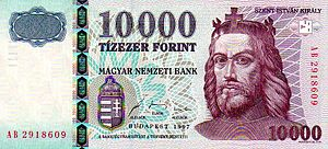 Saint Stephen on current 10,000 Hungarian Forint banknote