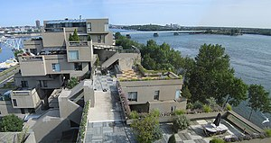 Habitat 67 - Habitat 67's interlocking forms, connected walkways and landscaped terraces were key in achieving Safdie's goal of a private and natural environment within the limits of a dense urban space.