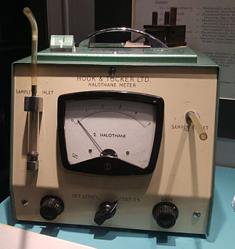 Halothane - A meter for measuring halothane. This was used to measure the amount of halothane a flow of inspired gas during anesthesia.