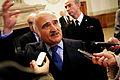 Hans Kongelige Hojhed Prins Hassan af Jordan talar med pressen efter sitt tal i plenum under Nordiska radets session i Kopenhamn 2006 (1).jpg