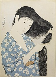 Hashiguchi Goyo - Woman in Blue Combing Her Hair - Walters 95880.jpg