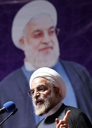 Hassan Rouhani presidential campaign, 2013 - Rouhani speaking between his supporters in women convention