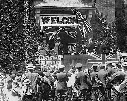 A welcome for Devonshire at Belleville during one of his tours of Canada while Governor General Hastings County Archives HC01047 + HC01048 (restored) (20931942526).jpg