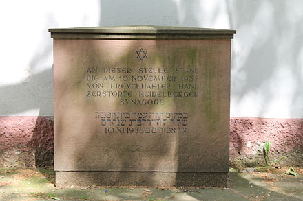 Memorial stone marking the site of the synagogue in the Lauerstrasse Heidelberger Synagogenplatz 2.JPG