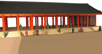 Heijō Palace - Miniature model of the east assembly hall (Choshu-den) of the latter imperial audience hall compound