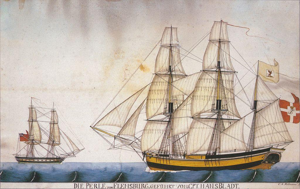 """Illustration de C.N. Heitmann d'un trois mats """"Die Perle"""" (1814) au Musée National de Copenhague."""