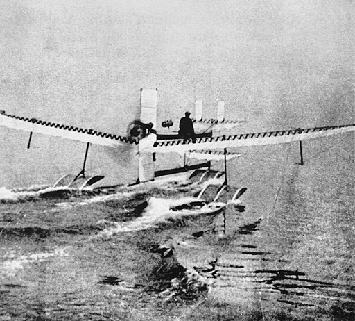 Henri Fabre on Hydroplane 28 March 1910