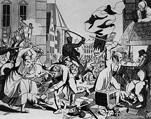 Johann Michael Voltz - Voltz's depiction of the 1819 anti-Jewish Hep-Hep riots in Frankfurt is used by historians researching on the social background of the rioters (both peasant women and a man wearing spectacles, tails, and a six-button waistcoat are shown assaulting Jews)