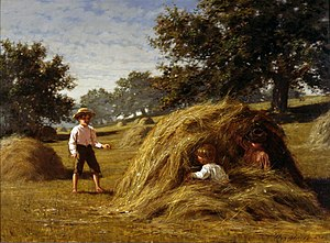 William Bliss Baker - Hiding in the Haycocks, painted in 1881.