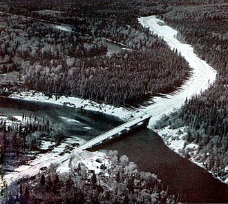 "Ontario Highway 17 - Construction of ""the Gap"" at the Michipicoten River bridge in 1959"