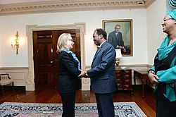 Hillary Clinton with Hassan Sheikh Mohamud U. S. State Department 2013-01-17 02.jpg
