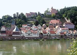 Hirschhorn (Neckar) - View of the historic town centre and the castle from the south bank of the Neckar