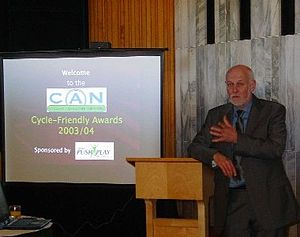 Cycle Friendly Awards - Transport Minister Pete Hodgson presenting the 2004 Cycle Friendly Awards