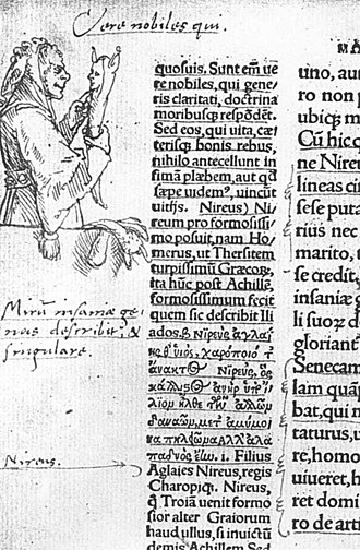 The Praise of Folly - Hans Holbein's witty marginal drawing of Folly (1515), in the first edition, a copy owned by Erasmus himself (Kupferstichkabinett, Basel)
