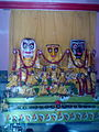 Holy icons of Lord Jagannath-Balaram-Subhadra at Kolkata Strand Road Jagannath Temple.jpg