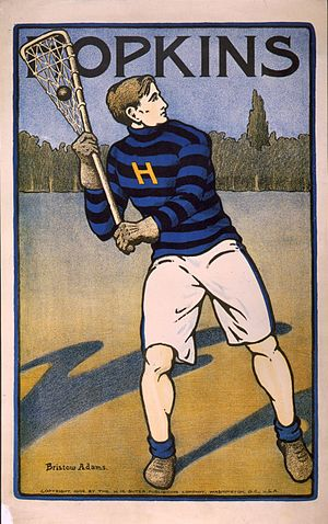 Johns Hopkins Blue Jays men's lacrosse - Hopkins lacrosse player, poster by Bristow Adams, 1905