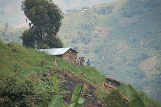 Rwenzori Mountains - House and people in Kasese District, Uganda