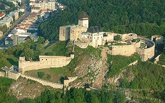 Trenčín - Aerial view of Trenčín castle