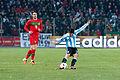 Hugo Almeida (L), Ever Banega (R) – Portugal vs. Argentina, 9th February 2011 (1).jpg