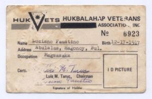 Hukbalahap Rebellion - HUKBALAHAP Veterans Card