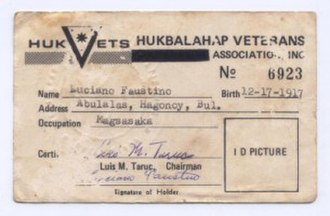 Hukbalahap - Hukbalahap Veteran's Card