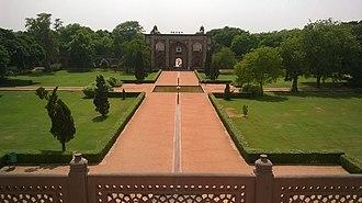 Islamic garden - (1565) Humayun's Tomb, Delhi, India. Garden showing a four-quadrant axial design