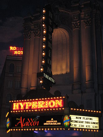 Disney's Aladdin: A Musical Spectacular - Hyperion Theater marquee at night in 2006.