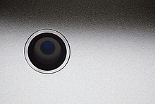 The camera of the third-generation iPad.
