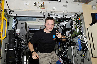 Amateur radio - NASA astronaut Col. Doug Wheelock, KF5BOC, Expedition 24 flight engineer, operates the NA1SS ham radio station in the Zvezda Service Module of the International Space Station. Equipment is a Kenwood TM-D700E transceiver.