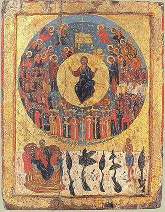 Second Coming - Greek icon of Second Coming, c.1700