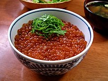 Ikuradon, a bowl of rice topped with salmon roe
