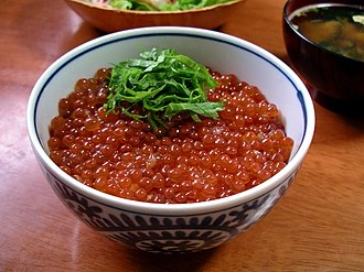 Roe - Ikuradon, a bowl of rice topped with salmon roe