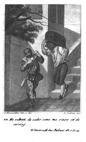 """The Servant of Two Masters - """"I'd like to see how I'll manage to serve two masters."""" Illustration from The Complete Comedies of Carlo Goldoni (1830)"""