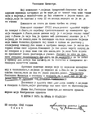 Ilija Trifunović-Birčanin - Report of Chetnik general staff officer Ivanišević from Split on Trifunović-Birčanin's cooperation with the Italians.