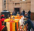 Indian Armed Forces services chiefs laying wreaths at Amar Jawan Jyoti on Navy Day 2014.jpg
