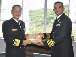 Indian navy officer calls on Japanese VAdm Yasuhiro Shigeoka, C-in-C, SF.jpg