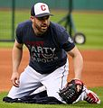 Indians second baseman Jason Kipnis fields grounders before -WorldSeries Game 1. (30275032010) (cropped).jpg