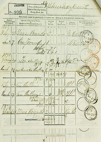 This 1869 deposit book would be carried by the customer, and is a typical record of a British Post Office Savings Bank savings account. Inside a Post Office Savings Bank deposit book.jpg